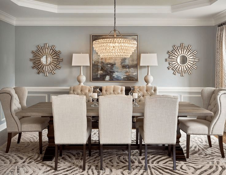 Dining room wall decor ideas with mirror and art picture #walldecoration