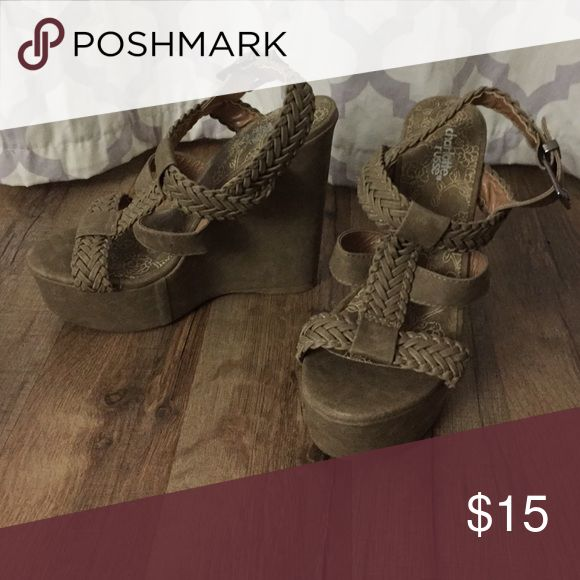 Only worn for a few hours! Barely worn tan wedges Charlotte Russe Shoes Wedges