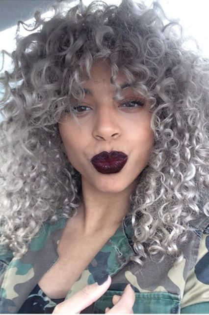 The 6 Hottest Curly-Hair Color Trends Of 2015  Icy White This growing trend is an edgier, fresher take on the double-processed blonde of 2014. Many curlies and naturalistas would cringe at the thought of bleaching their already-fragile coils, but, thankfully, with the invention of Olaplex, more stylists are able to achieve this color on their clients with minimal damage from bleach and other chemicals. You can keep your icy ...