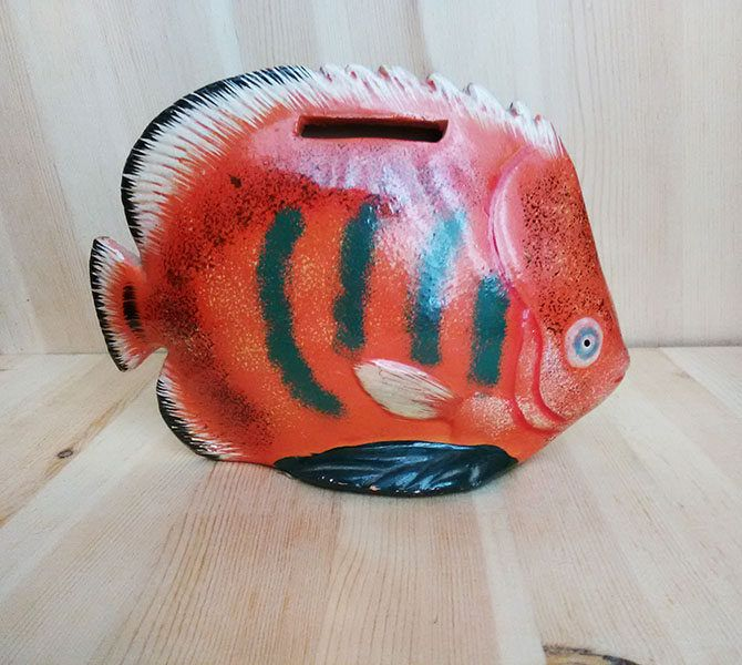 Vintage Ceramic Fish Bank, Fish Shaped Piggy Bank, 80's Ceramic Fishy Bank, Orange Fish Bank, 80's Ceramic Tropical Fish Bank,80's Coin Bank by KatarinBlueVintage on Etsy