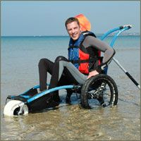 Three wheel style beach wheelchair (with dual back wheels)>>> See it. Believe it. Do it. Watch thousands of spinal cord injury videos at SPINALpedia.com