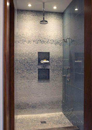 Tumbled marble mosaic shower new ravenna mosaics tile for Tumbled marble bathroom designs
