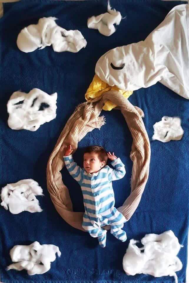 Foto infantil com cenário em tecido - Pato