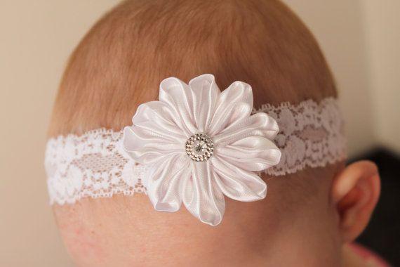 white daisy flower lace headband... baby by ElianasCove on Etsy, $10.00