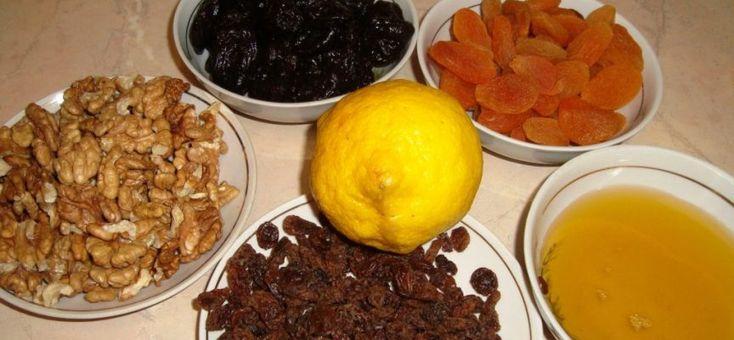 Питательная смесь для сердца — чернослив, курага, изюм, грецкие орехи, мед, лимон