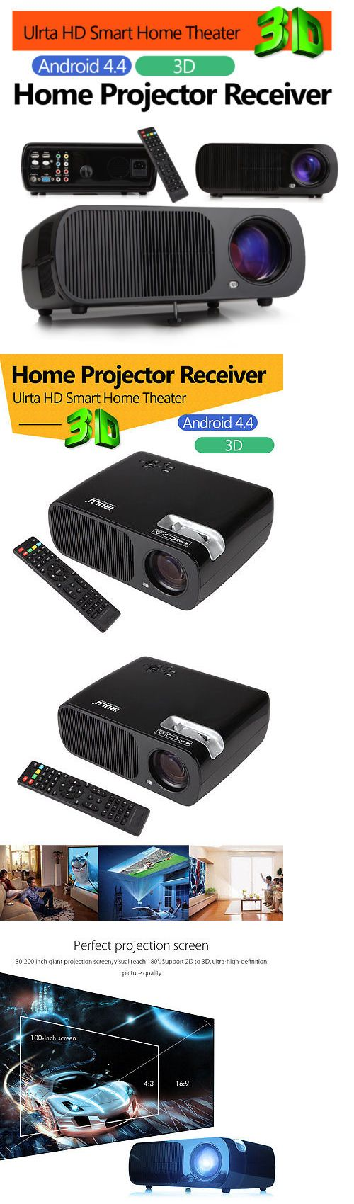 Home Theater Projectors: Irulu 1080P Hd Led Lcd 3D Projector Home Theater Cinema Hdmi/Usb/Sd/Dtv/Av/Vga BUY IT NOW ONLY: $117.59