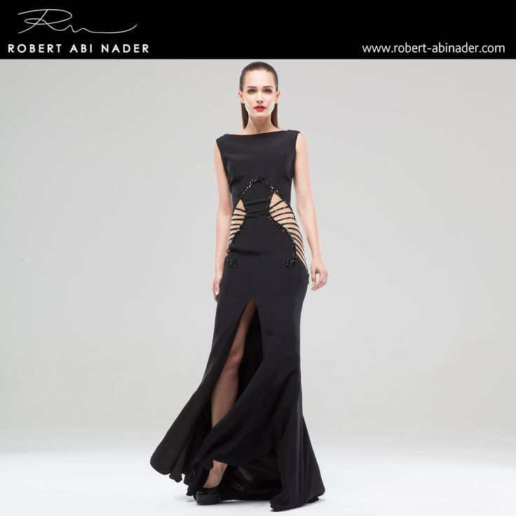Robert Abi Nader - Ready to Wear - Spring Summer 2015 Long and fitted mermaid dress in black moroccan crepe and embroidered skin colored tulle.  #robertabinader #black #fashion #long #mermaid #moroccan #crep #embroidered #skin #tulle #fashionista #stylish #springsummer #lebanon #paris #london #beirut #princess #beauty #beautiful