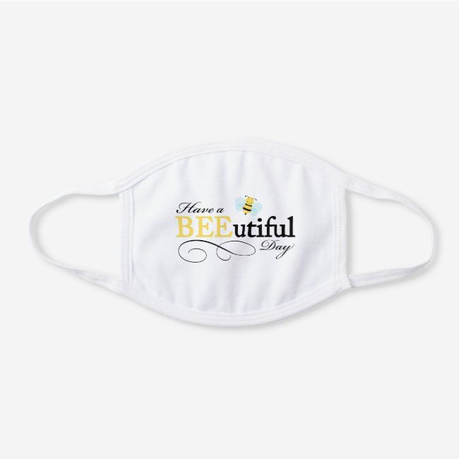 Bumble Bee White Cotton Face Mask Zazzle Com In 2020 Face Mask Mask Centers For Disease Control And Prevention