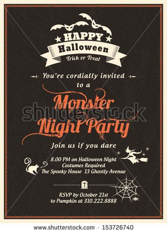 Halloween Party Invitation Template for Card-Poster-Flyer by kraphix, via Shutterstock