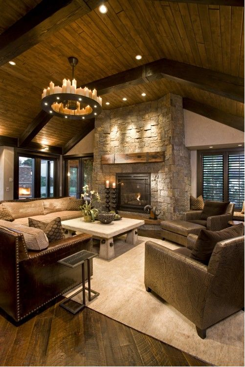 Who needs to rent a log cabin if I have a fireplace like this...