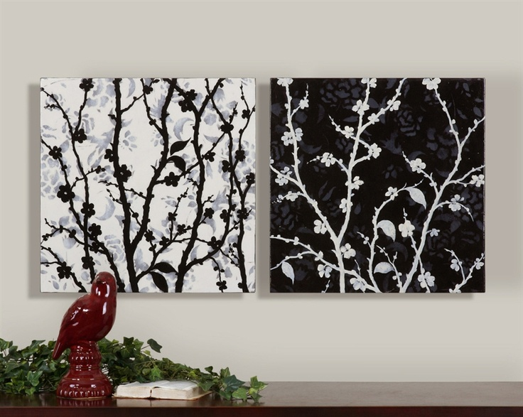 Uttermost Black & White Branches Set of 2