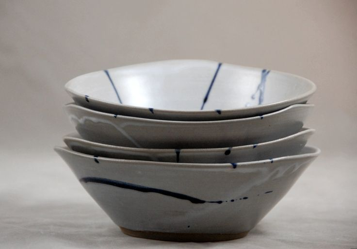 Bowls Set of 4 in White with Dark Stripes Soup Salad Side Bowl Contemporary Dinnerware Triangular Bowls by moonstarpottery on Etsy