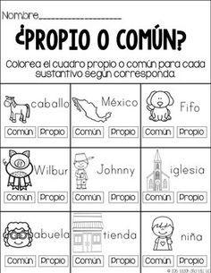 Resultado de imagen para ejercicios de nombres comunes y propios para elaborar oraciones