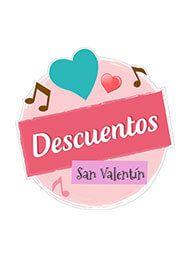 Etiqueta descuentos San Valentín. 14 de Febrero. Ofertas especiales.