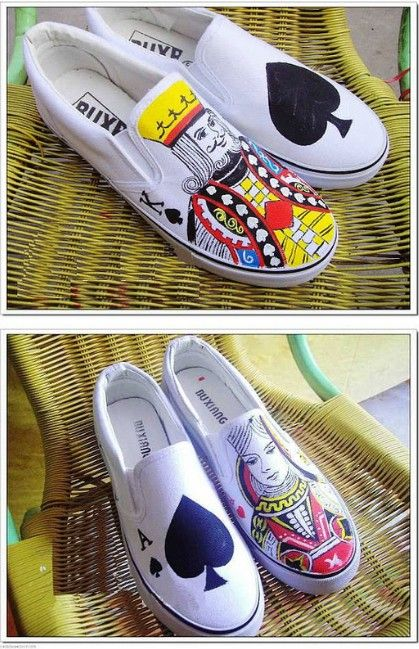 Poker Face hand painted slip on shoes,Slip-on Painted Canvas Shoes Best protected with flexible H20 covercoat
