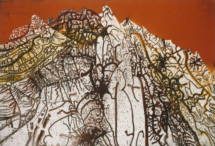 Kırmızı Alpilles (1978) Bakır üzerine akuatint, aside yedirme baskı ve kazıma, 57 x 76 cm. FNAC 35371 Centre national des arts plastiques © ADAGP, Paris 2016 ---- Red Alpilles (1978) Aquatint, etching and engraving on copper, 57 x 76 cm. FNAC 35371 Centre national des arts plastiques © ADAGP, Paris 2016