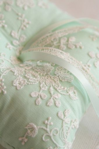 Ring Bearer's Pillow ~ In mint green with embroidery, ribbons, and lace.