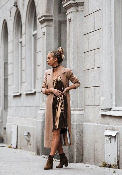 Coat: tumblr camel long dress midi dress slip dress gold gold dress boots brown boots ankle boots