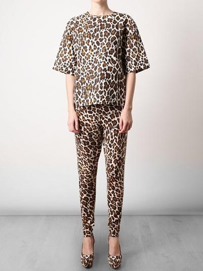 Leopard Printed Fleece Wool Leggings