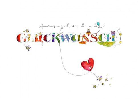 Postkarte Herzlichen Gluckwunsch Bunt Gluckwunschkarte