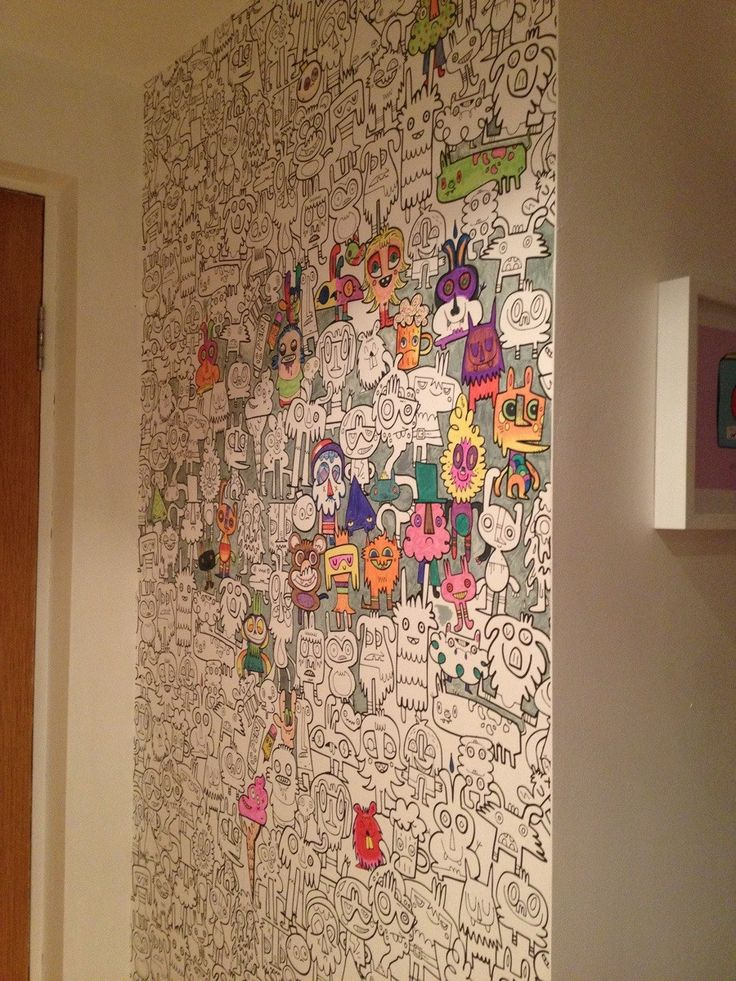 "I love this idea. - ""A neighbour of mine has one wall in their house papered like this. Every time a new guest comes in, they are asked to colour-in a character and initial it."""