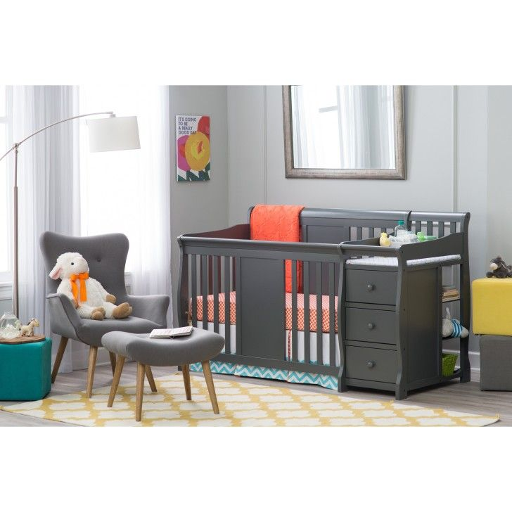 Nursery Rooms. Storkcraft Calabria 4 in 1 Crib with Changing Table Combo Features Changing Station Combination and Changing Pad Included. #Netnoot #ConvertibleCribs #NurseryFurniture