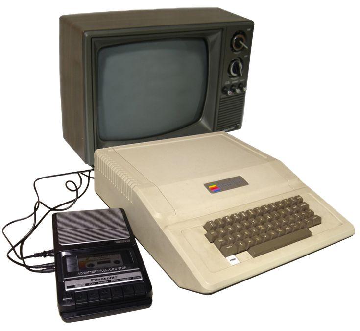 Apple II, Panasonic RQ-2102 cassette, and TV