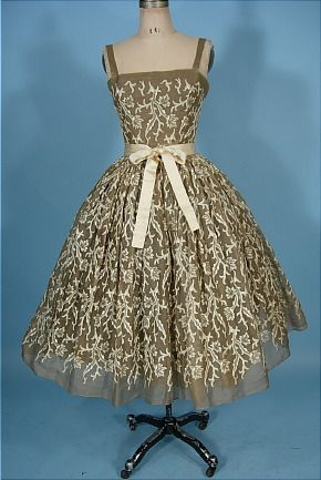 1955 RARE TRAINA-NORELL, New York Organdy  and Embroidered Party Dress with Original Petticoat Underpinning: Party Dresses, Vintage Fashion, Vintage Dresses, 1950S Dresses, Parties Dresses, Embroidered Parties, Embroidered Dresses, 1950 S Parties, Vintage Clothing