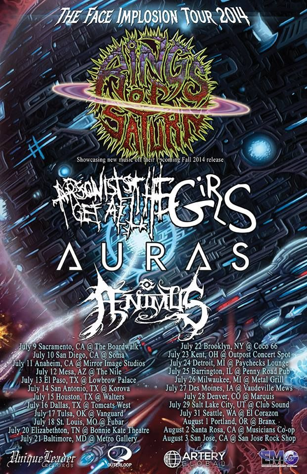 "NEWS: The death metal band, Rings Of Saturn, have announced ""The Face Implosion Tour"" that will be hitting cities in the U.S. this summer. Arsonists Get All The Girls, Auras and Ænimus will be joining as support. You can check out the dates and details at http://digtb.us/faceimplosion"