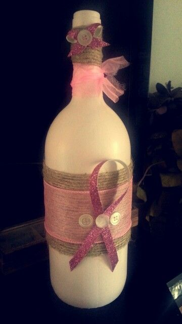 Handmade wine bottle craft for breast cancer awareness. Hope you like it! -KraftyKaila