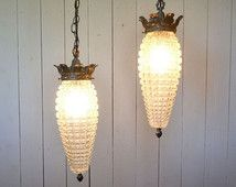 glass swag lights 1960s vintage medieval lounge silver metal textured hanging lamp fixture