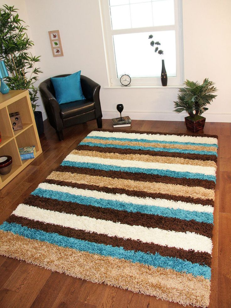 Details About Teal Blue Chocolate Brown Cream Striped Mat Anti Shedding  Large Cheap Shaggy Rug