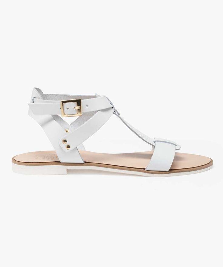 Sandales plates en cuir gemo