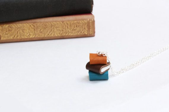Colourful Book Stack Necklace - Miniature Pile of Books - Ex Libris - Coloured Leather Handcrafted Book Necklace - Handcrafted OOAK https://www.etsy.com/nz/shop/ExLibrisJewellery