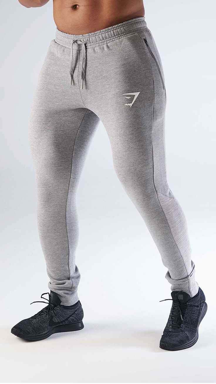 The Tapered Cuffed Bottoms in light grey are the perfect workout bottoms