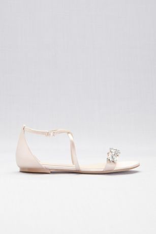 690be04ae Satin and Crystal Cross-Strap Flat Sandals