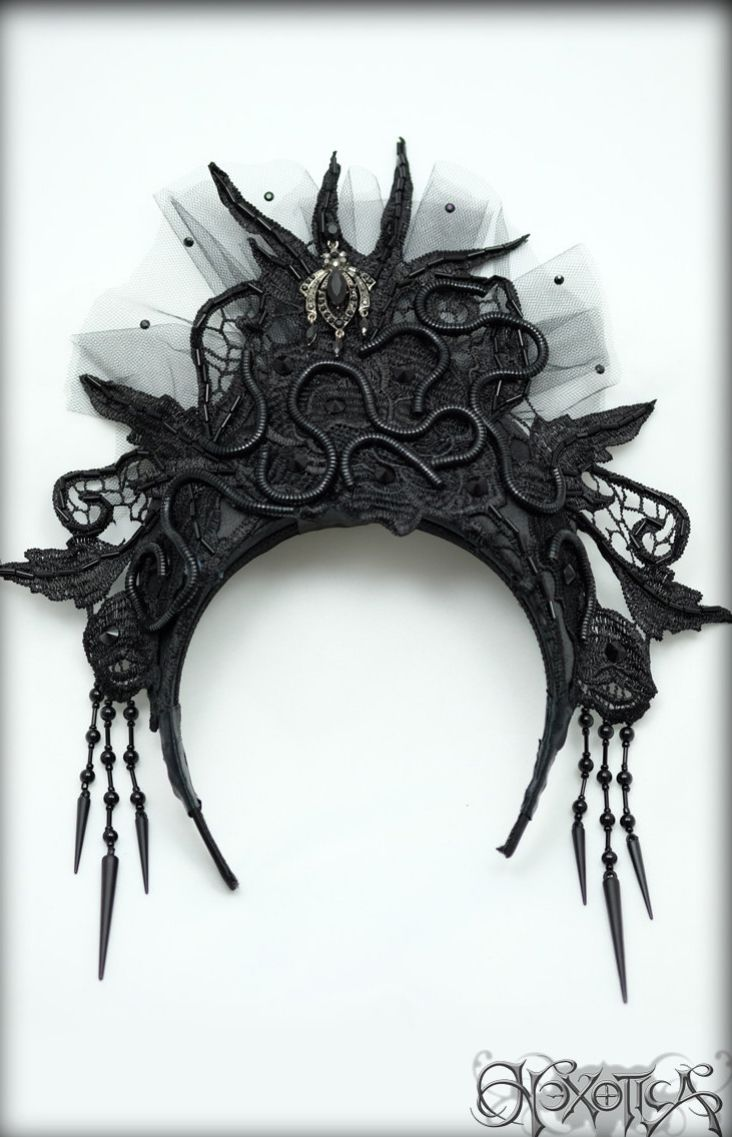 Black Lace Snake Goddess Headdress / Coronet ♥