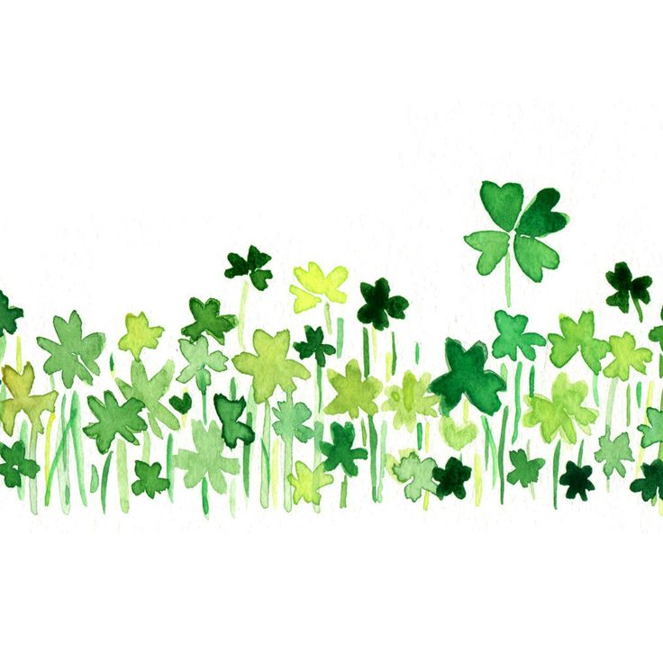 Clover field 2 art Print of orignal watercolor painting ,lucky clover, Shamrock, luck of the Irish, modern minimalist , St Patric's day. $21.00, via Etsy.
