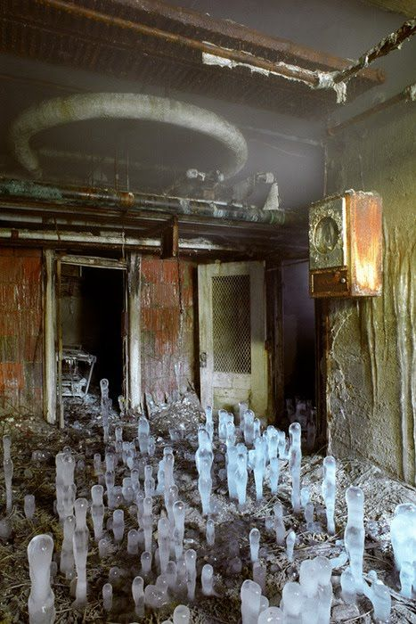 Ice stalagmites in the basement of greystone park state hospital.