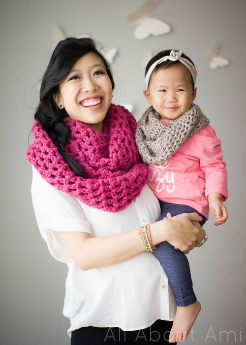 "With all the cowls I've been making recently (see my ""Twist Cowl"" and ""Triple Luxe Cowl""), I thought it was high time that I made a cowl for Myla! She loves wearing what I'm wearing and I of course lo"