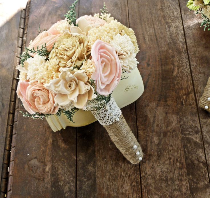 Small Country Wedding Ideas: Romantic Wedding Bouquet -Small Natural Sola Flower Bridal