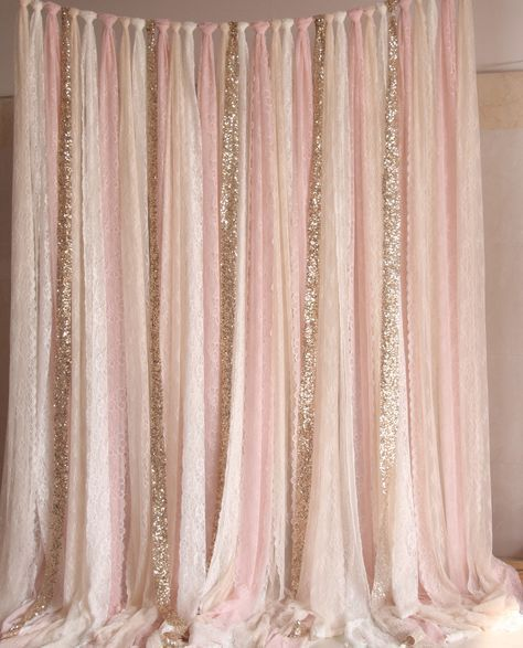 Blush pink white lace fabric gold sparkle photobooth background wedding ceremony bridal ...