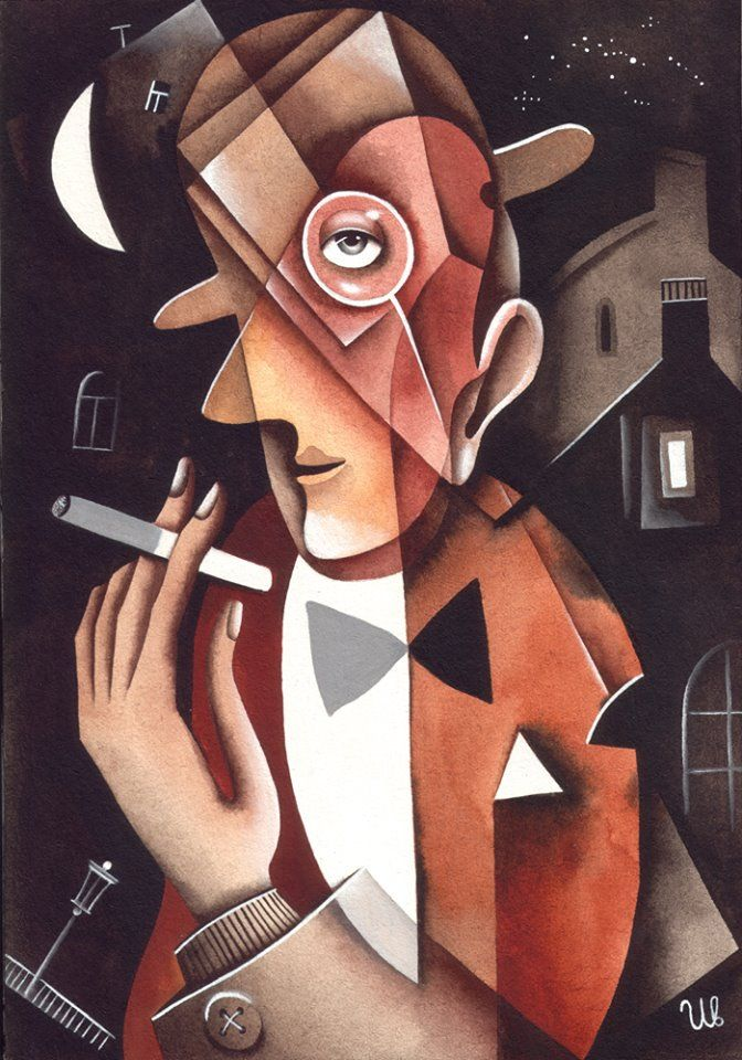 A cigarette by Eugene Ivanov, A4, watercolor, 2004. #eugeneivanov #cubism #avantgarde #threedimensional #cubist #artwork #cubistartwork #abstract #geometric #association #@eugene_1_ivanov