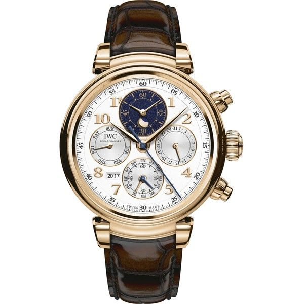 IWC IW392101 Perpetual Calendar Chronograph watch ($38,465) ❤ liked on Polyvore featuring men's fashion, men's jewelry, men's watches, mens chronograph watches, men's blue dial watches, mens white watches, mens rose gold watches and mens white face watches