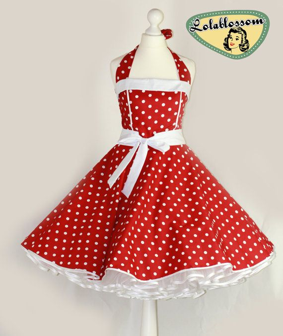 50's vintage dress full skirt red white polka dots perfect for a petticoat wedding Tailor Made