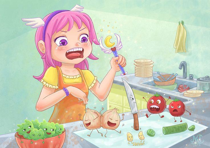 Cozinha mágicaEu não sei cozinhar, será que magia serve?As cebolas fazendo dança da chuva de lágrimas hahaha.