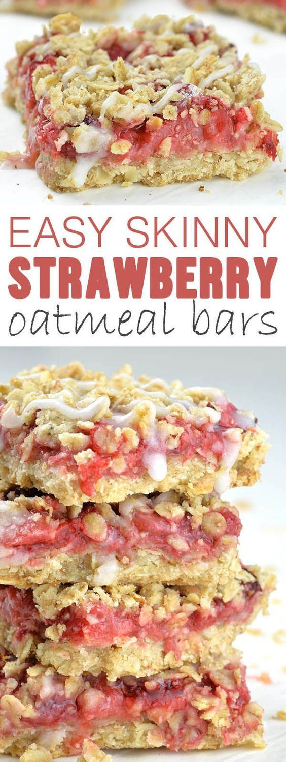 Easy Skinny Strawberry Oatmeal Bars is super simple, one-bowl and no-mixer recipe for healthy dessert, kid-friendly snack or breakfast on-the-go!