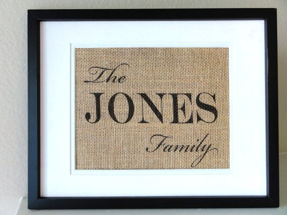 Family Name Burlap Art, Gift for Anniversaries, Last Name Sign. $20.00, via Etsy.