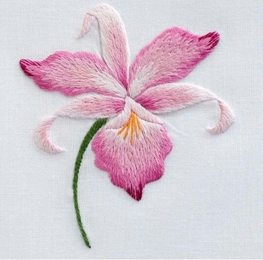 Orchidée : peinture à l'aiguille