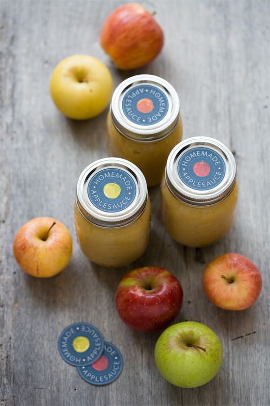 Homemade Applesauce w/ Printable Labels   from love & olive oil